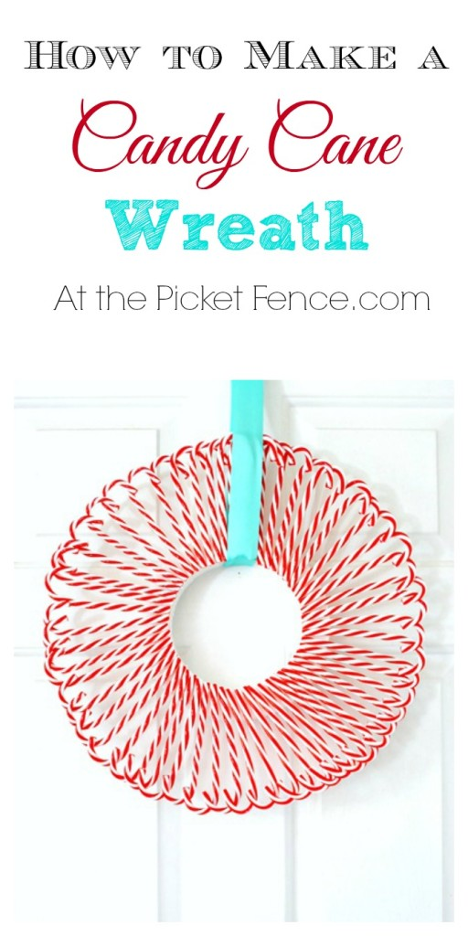 How to make a candy cane wreath from atthepicketfence.com