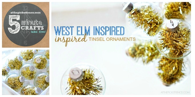 Take Five Craft West Elm Inspired Tinsel Ornament