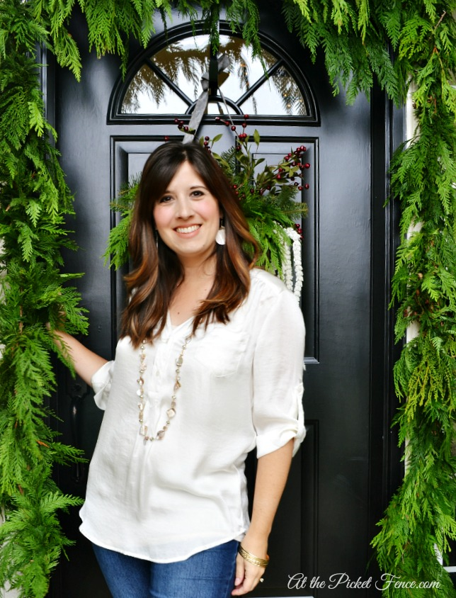 Vanessa at front door for Christmas home tour