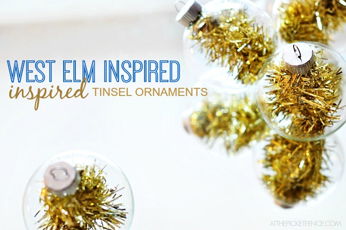 West Elm Inspired Tinsel Ornaments