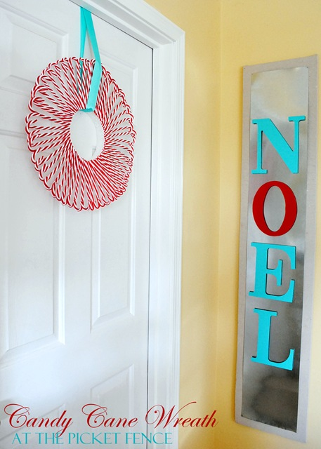 hanging candy cane wreath