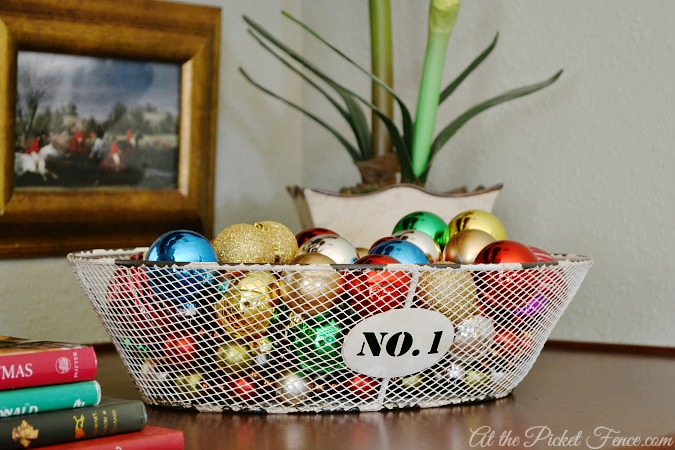 ornaments in wire basket