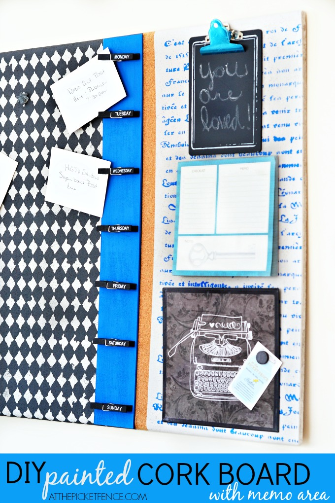 DIY Painted Cork Board with memo area