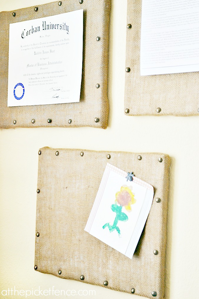 DIY-burlap-bulletin-board-gallery-wall atthepicketfence.com