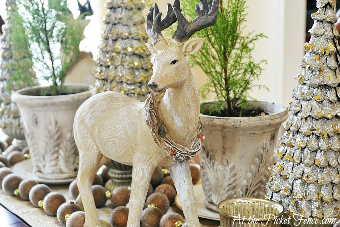 Deer figurine in table decor from atthepicketfence.com