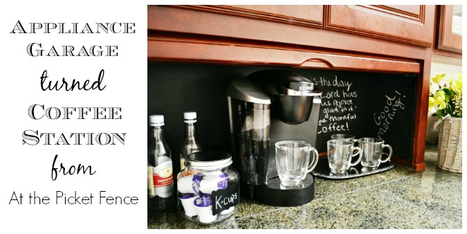 How to turn an appliance garage into a coffee station from atthepicketfence.com