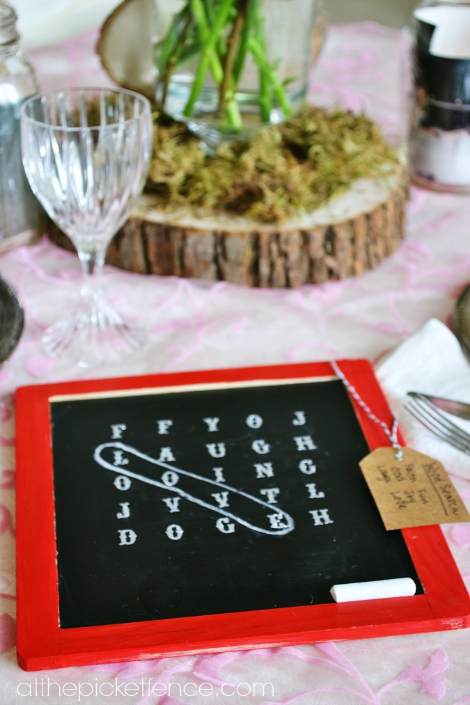 Valentine's Day chalkboard word search atthepicketfence.com