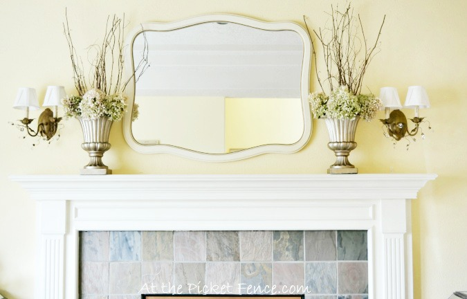 Winter mantel decorating from atthepicketfence.com