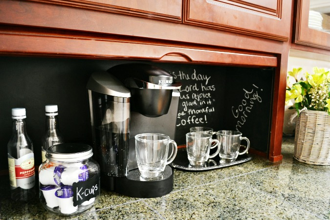 appliance garage turned coffee station from atthepicketfence.com