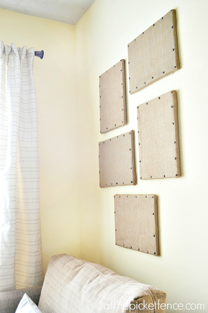 diy burlap bulletin board with nail head trim atthepicketfence.com