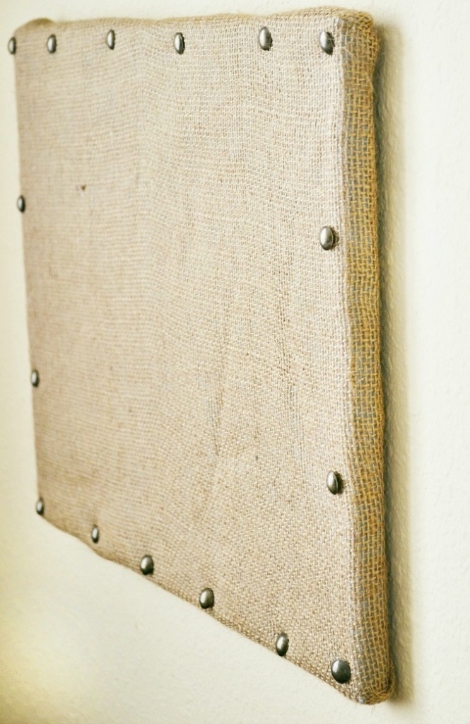 nail head trim on burlap bulletin board