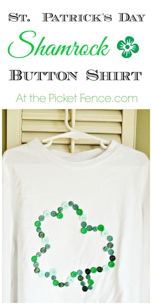 St. Patrick's Day Shamrock Button Shirt from atthepicketfence.com