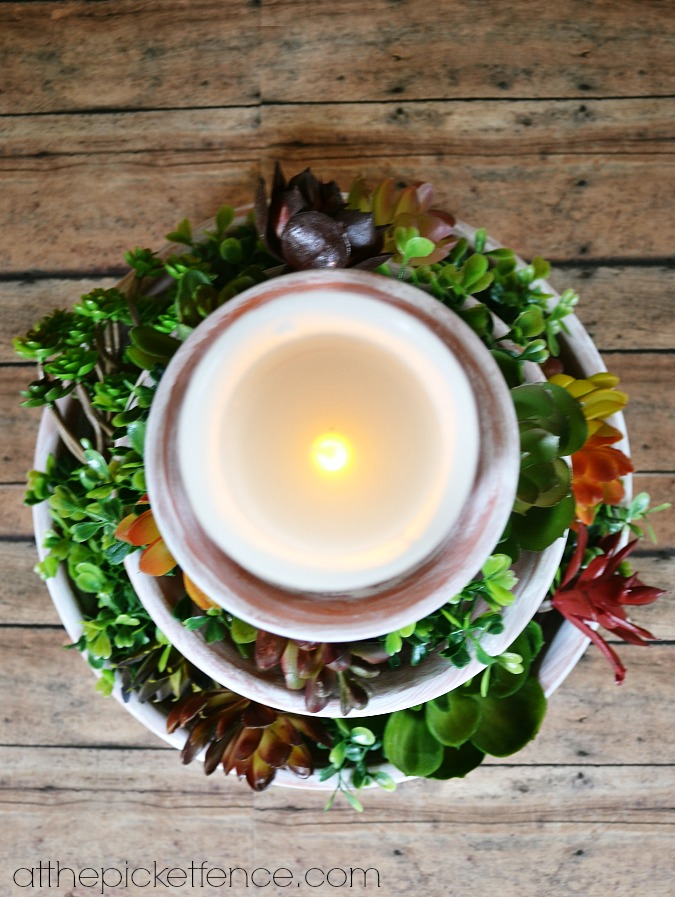 candle on clay pot tiered centerpiece