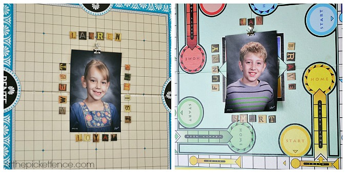 game board kids photo display