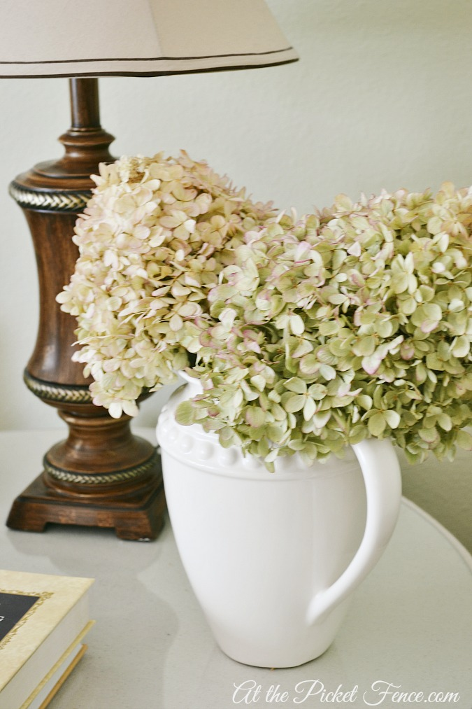 hydrangeas in cream pitcher