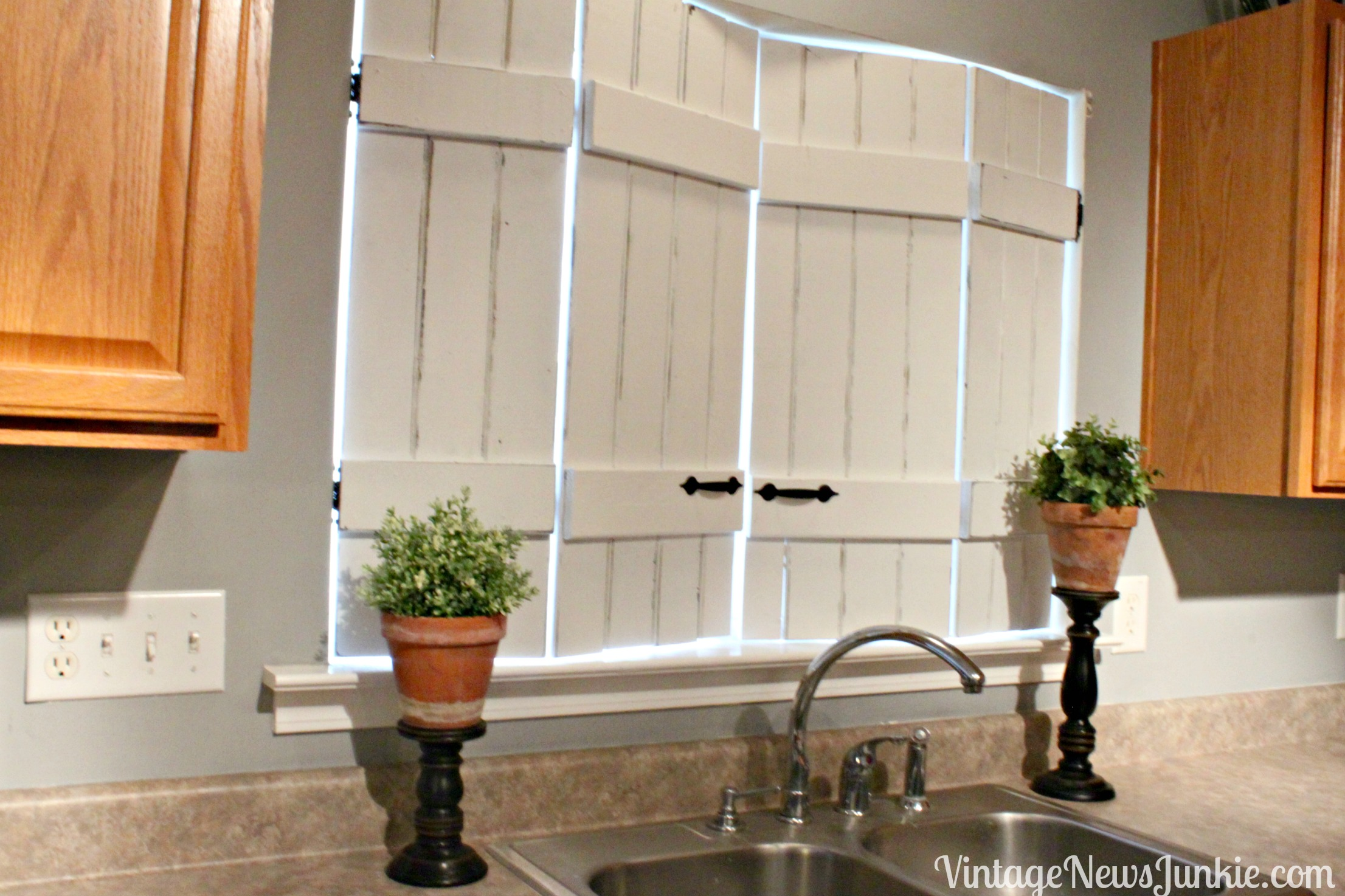 White Distressed Kitchen Shutters