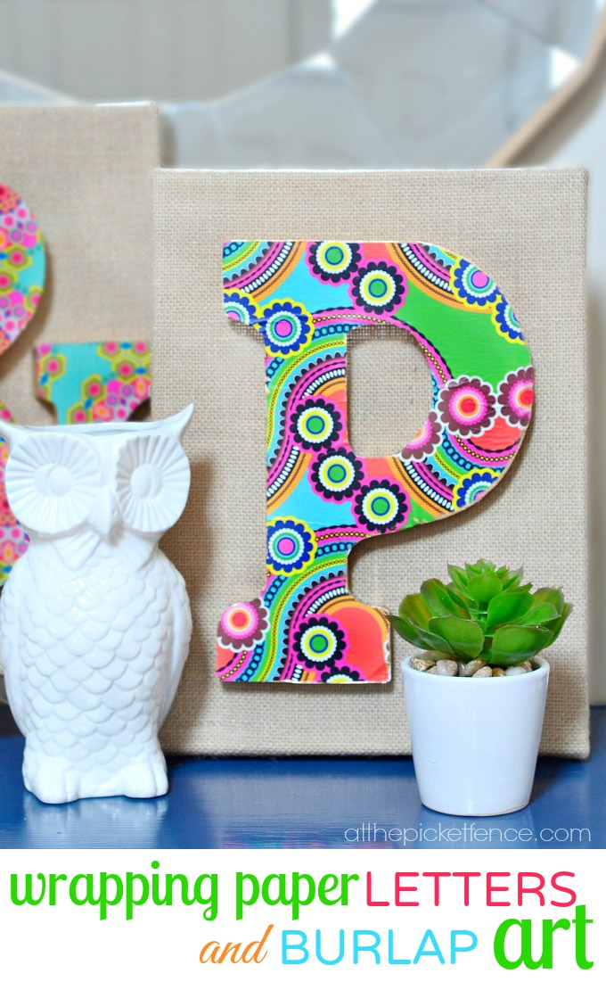 Wrapping Paper Letters and Burlap Art