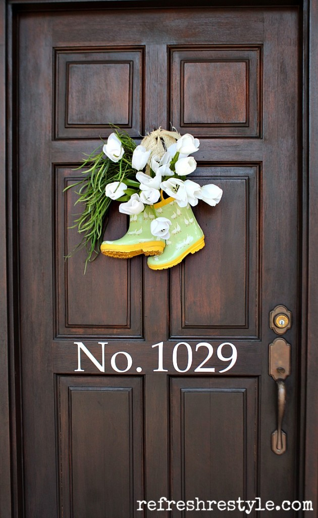 Rain Boots Spring Door Decor from Refresh Restyle