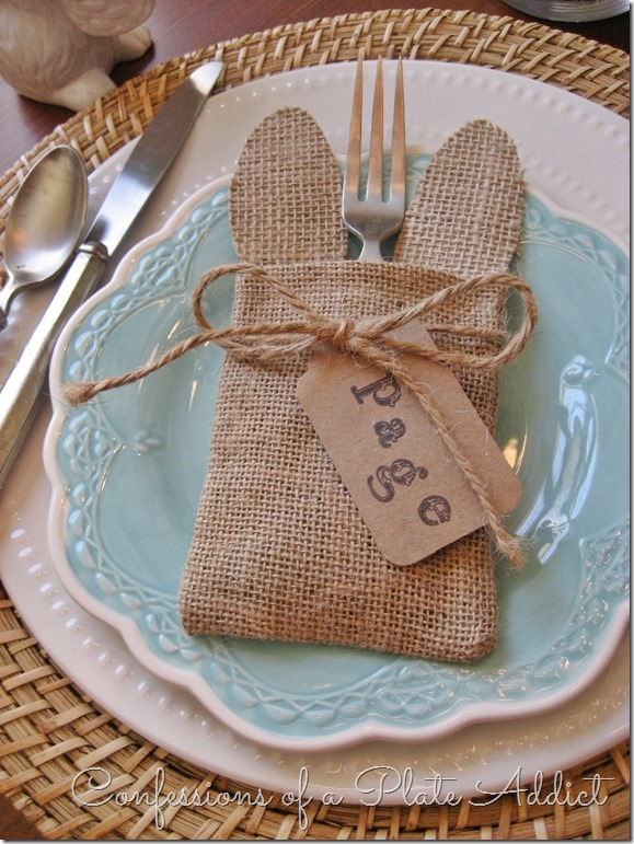No Sew Bunny Ear Silverware  Pocket from Confessions of a Plate Addict