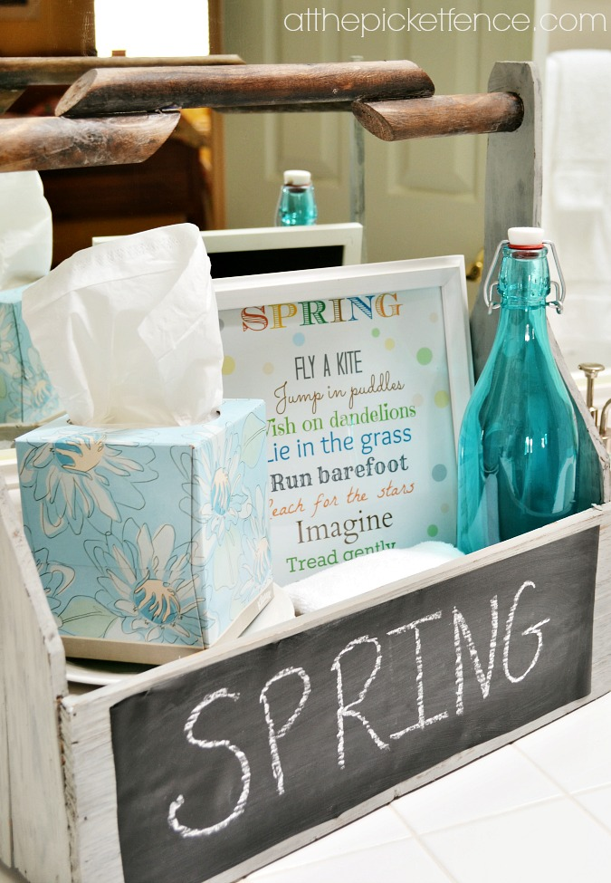 Spring bathroom caddy with kleenex and printable