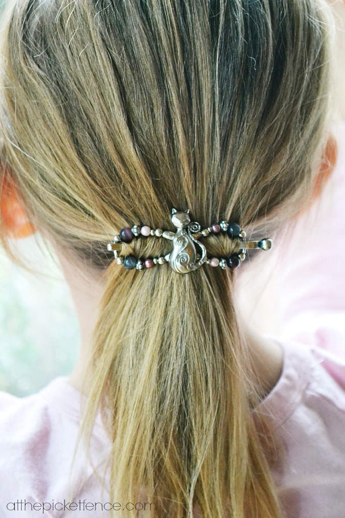 cat lilla rose hair clip