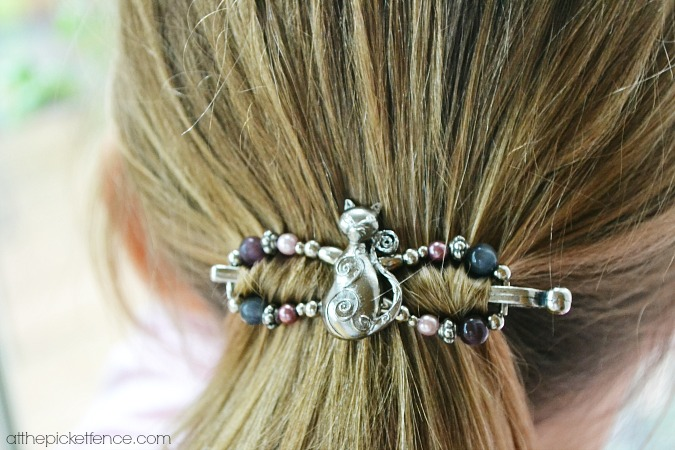close up of lila rose hair clip