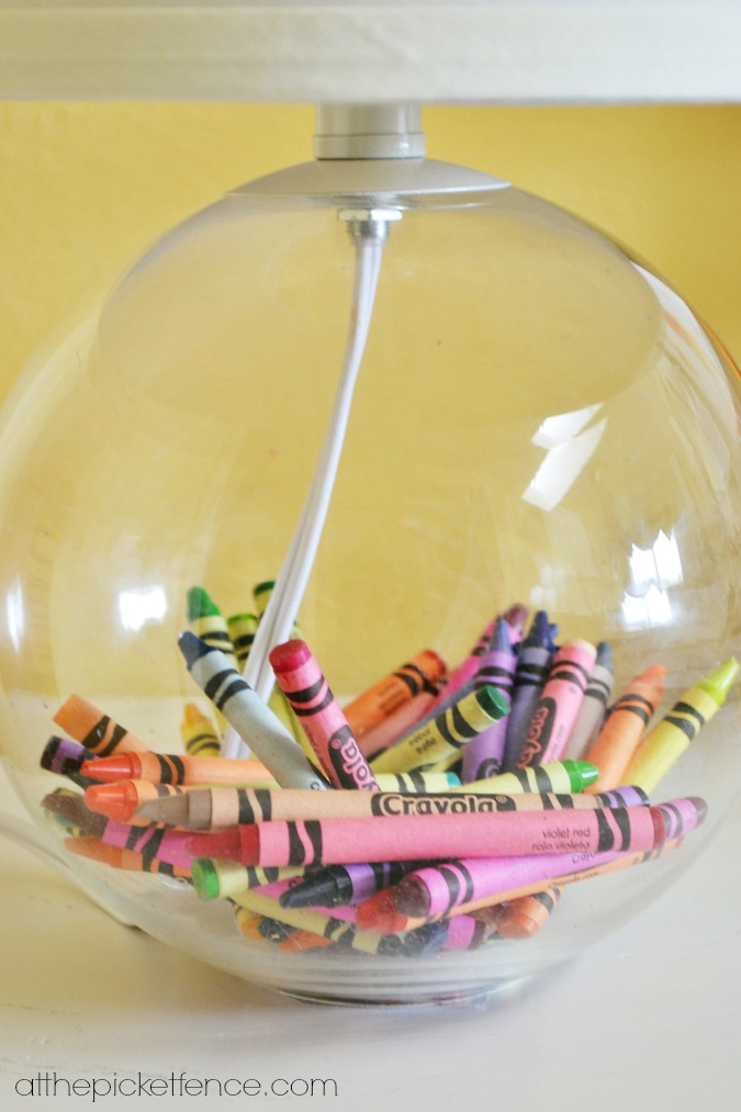 crayons in glass fillable lamp