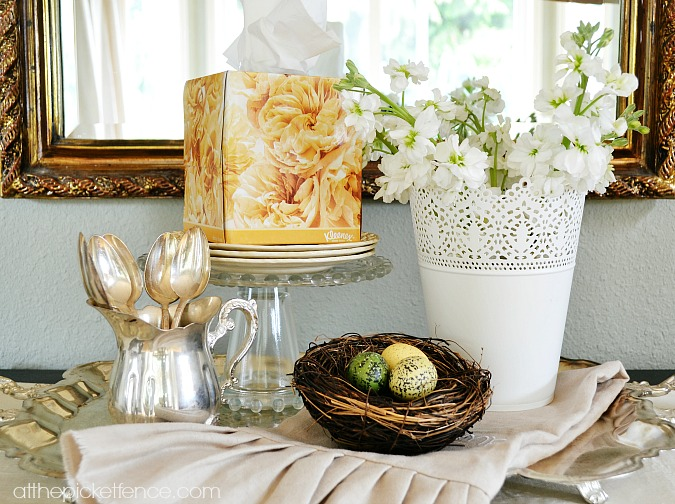 decorating with Kleenex boxes for Spring atthepicketfence.com