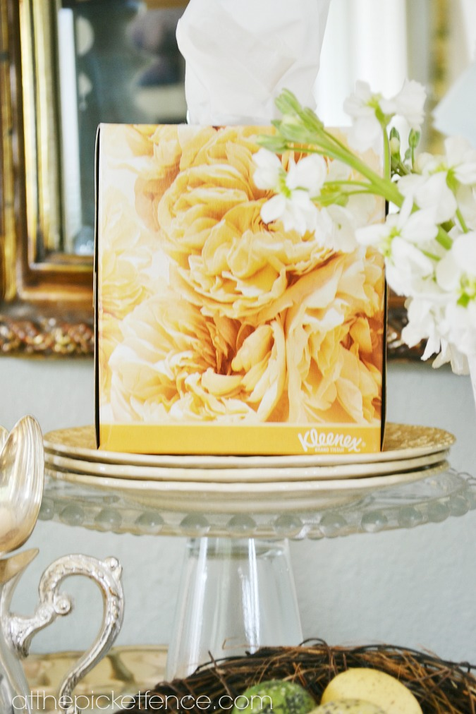 yellow peonies kleenex tissue box