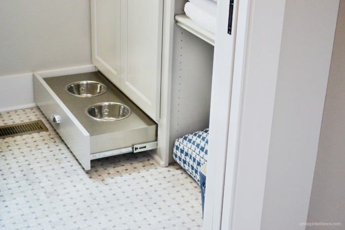 HGTV Smart Home Pet Bowls in Cabinet