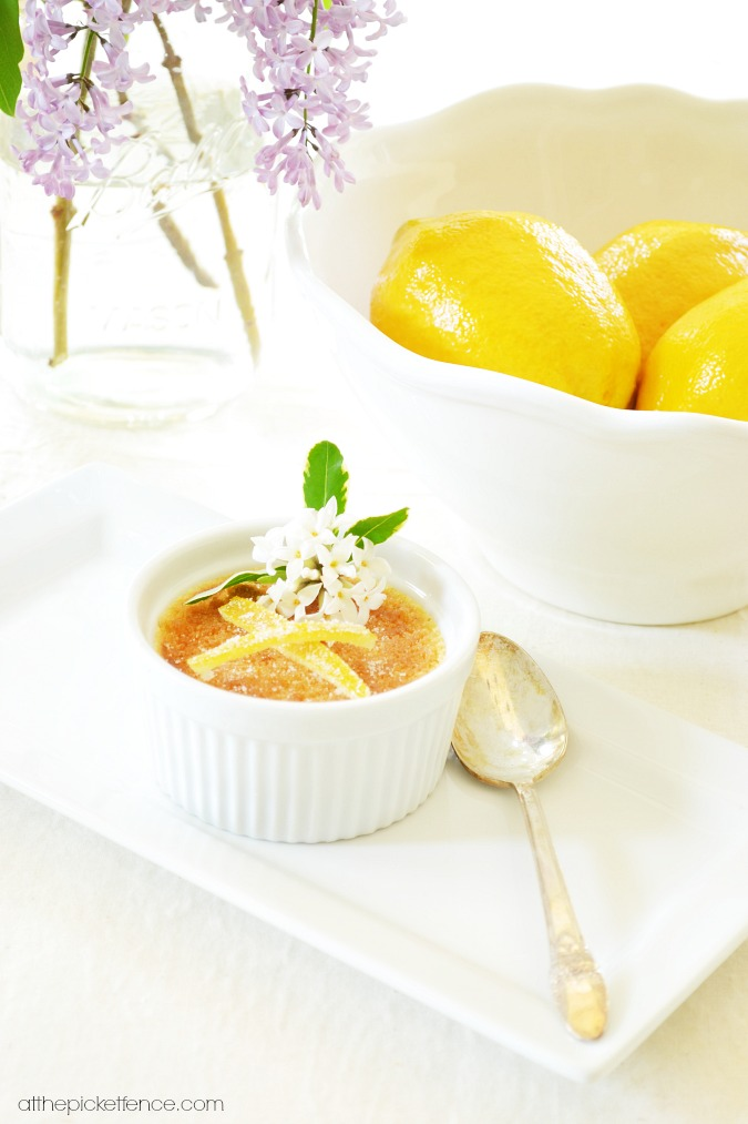 Lemon Creme Brulee with Caramlized Lemon Peel Garnish atthepicketfence.com