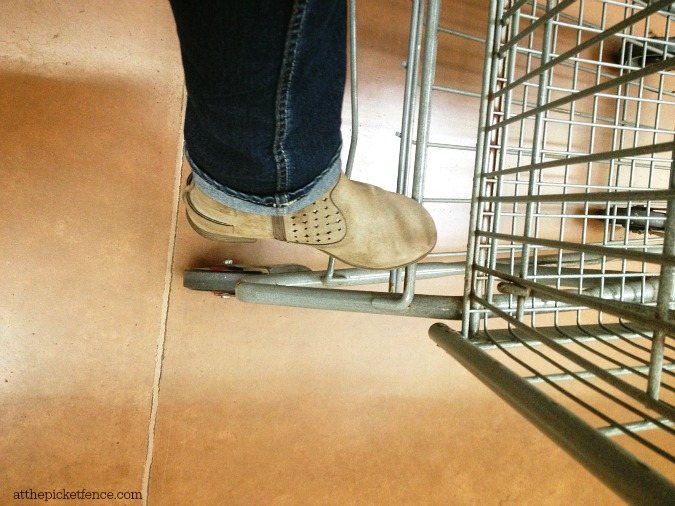 ankle boot on grocery cart