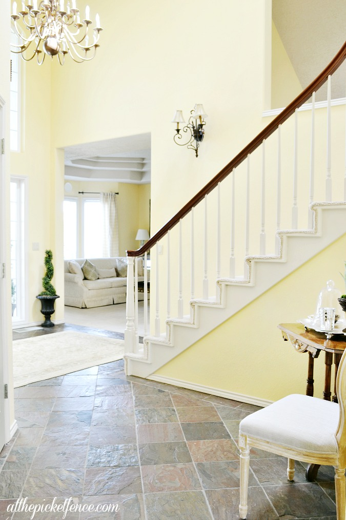 french country entry with staircase
