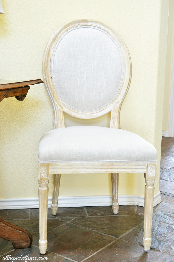french style chair in entry atthepicketfence.com