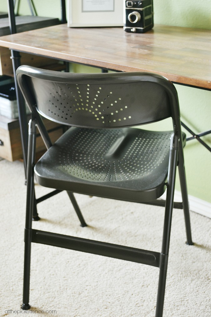 metal folding desk chair