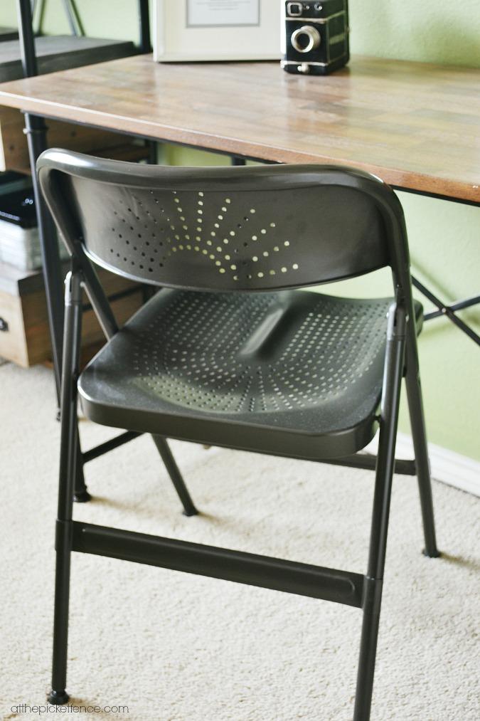 metal folding desk chair