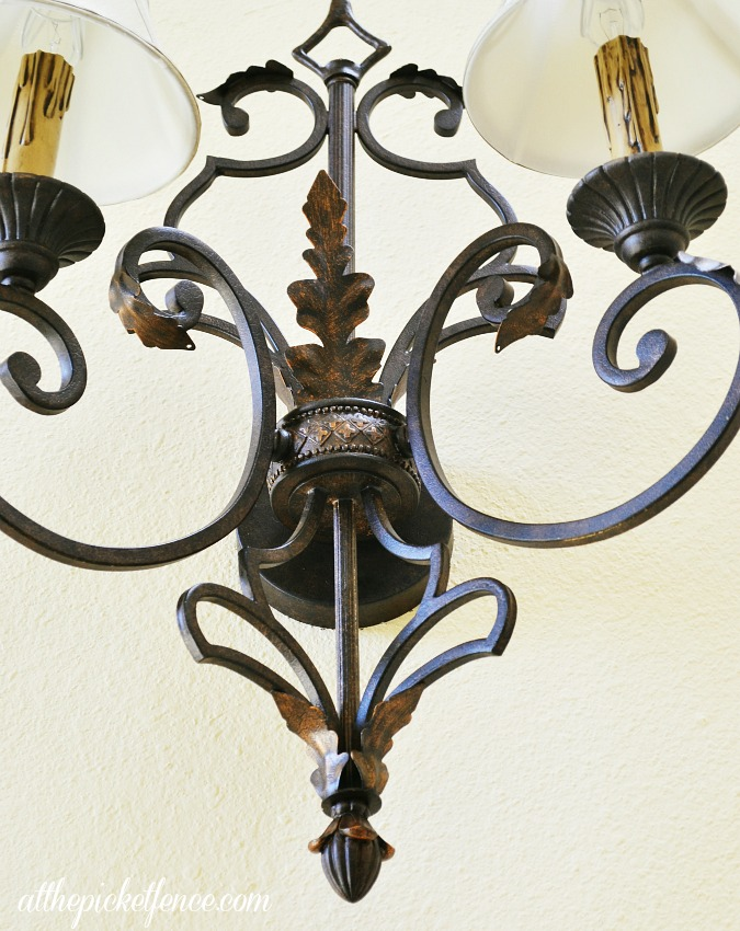 oiled bronze sconce details