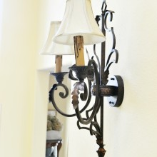 oiled bronze wrought iron sconce