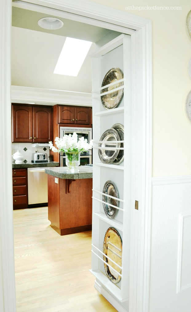 DIY plate rack hanging on wall & DIY Wall Plate Rack - At The Picket Fence