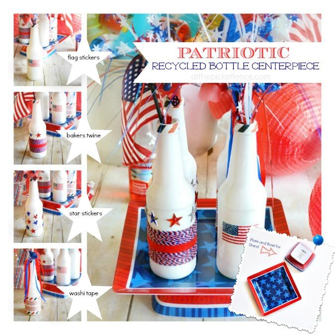 Patriotic Recycled Bottles Centerpiece