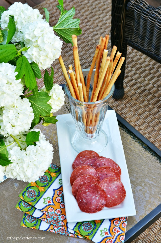 bread sticks and salami appetizer