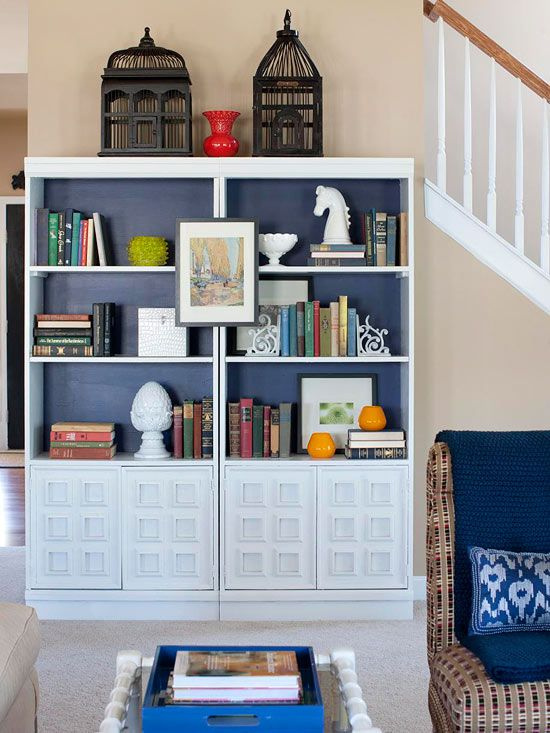 Bookshelves with Blue