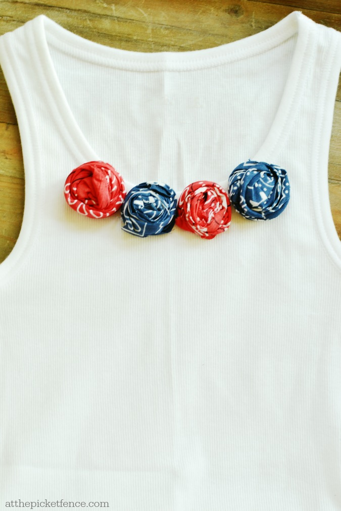 Bandana rosette 4th of July top atthepicketfence.com