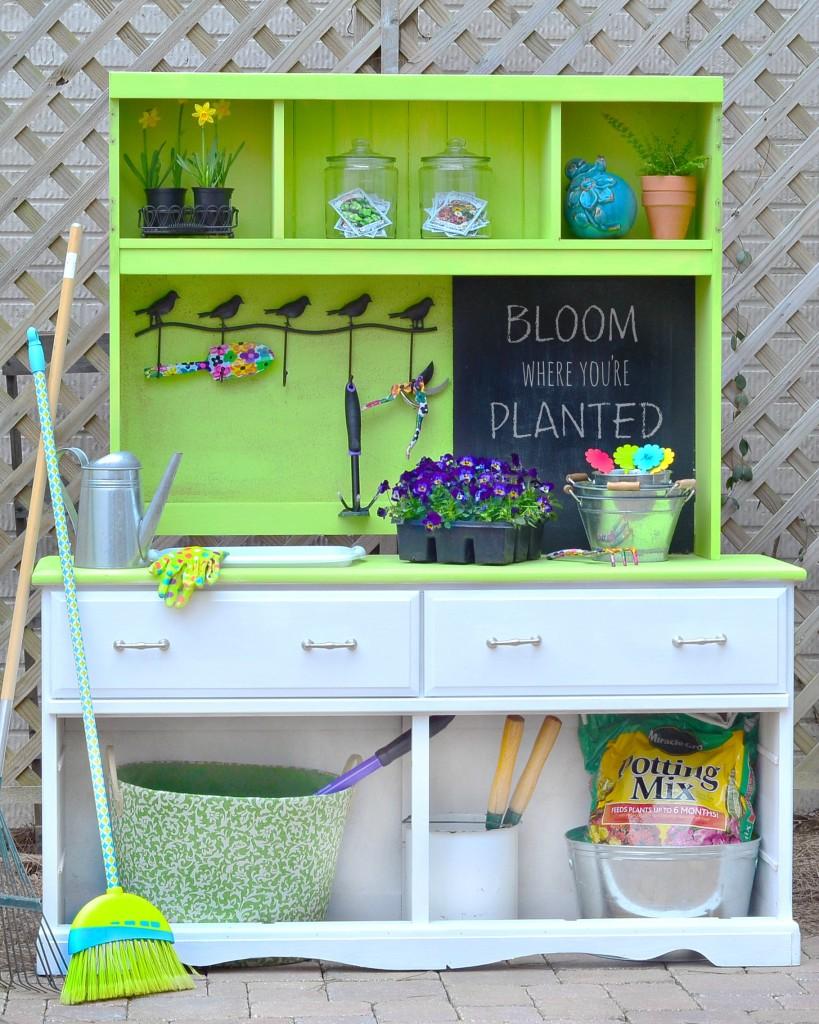 Repurposed Dresser Potting Bench