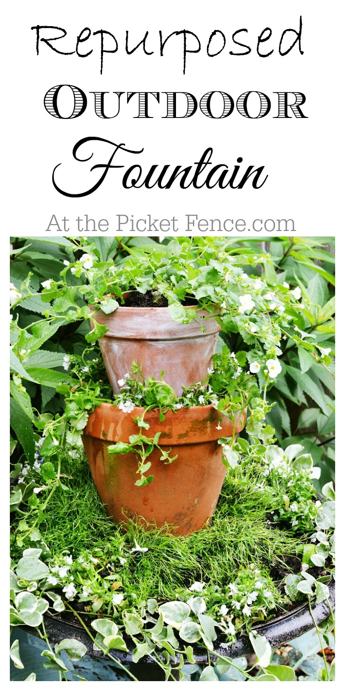 Repurposed outdoor fountain turned planter atthepicketfence.com
