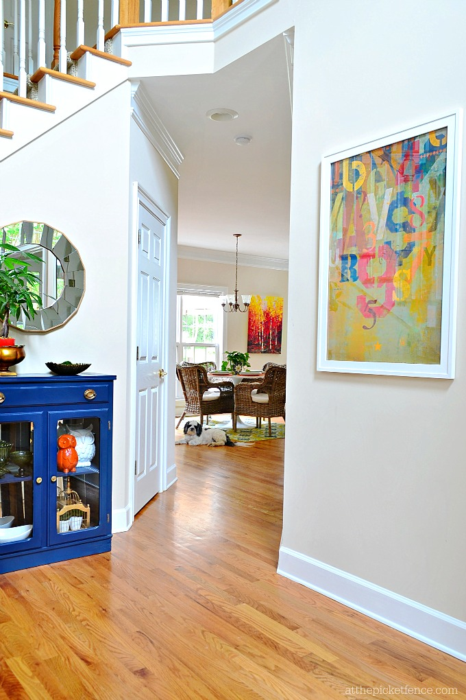 Blue Painted Curio Cabinet