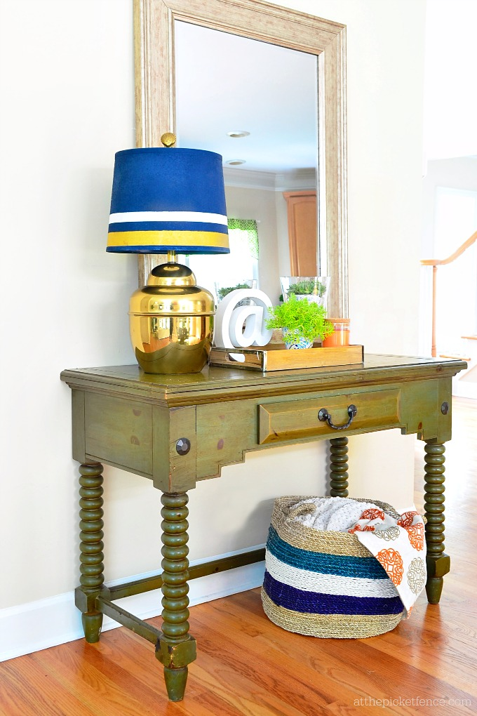 Painted Blue and Gold Lampshade
