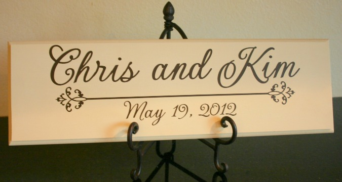 wedding sign with easel