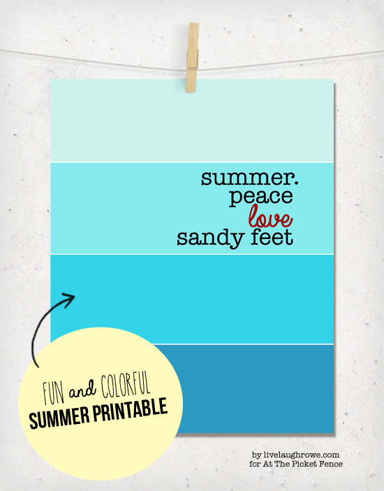 Free Summer Printable… Peace. Love. Sandy Feet!