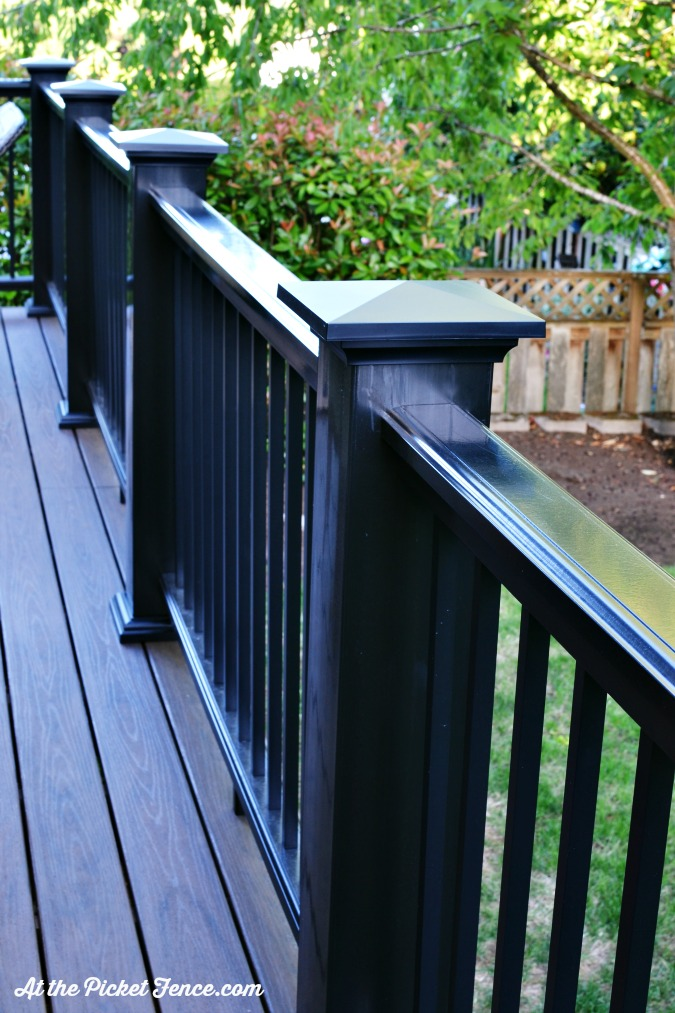 black deck posts and railing atthepicketfence.com